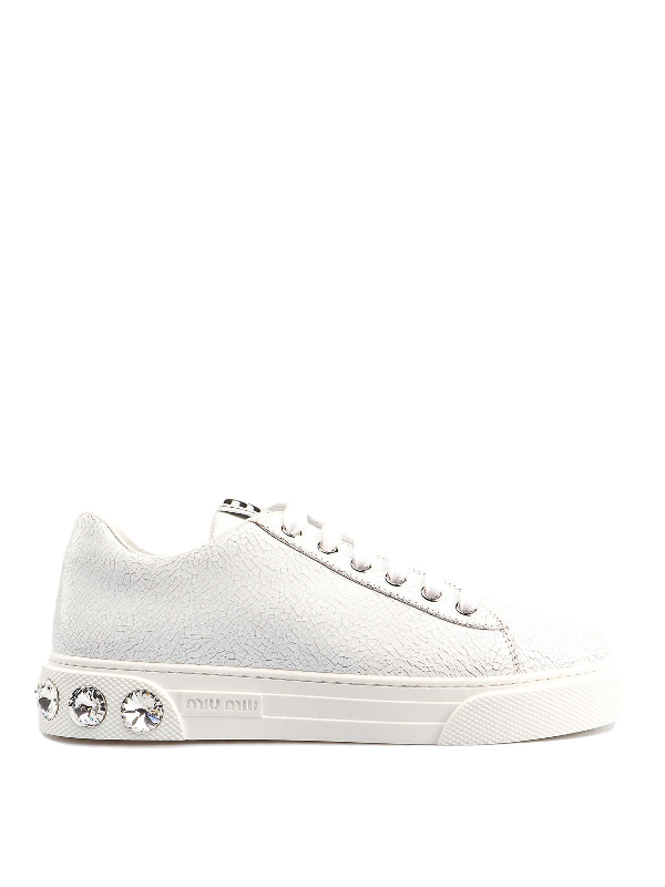Miu Miu Patent Leather Sneakers With Crystal Heel In White