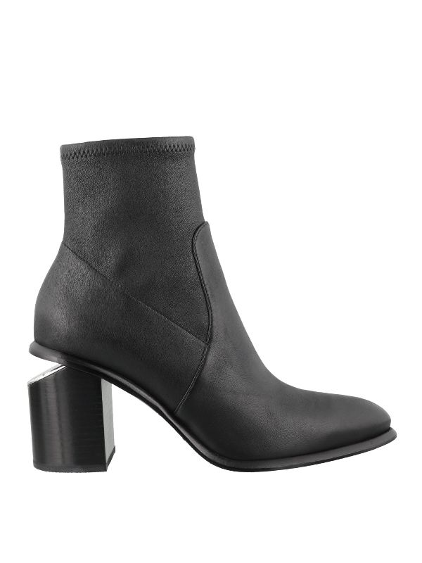 Alexander Wang Anna Leather Block-heel Stretch Booties In 001 Black
