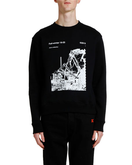 Off-White Men's Ruined Factory Graphic Crewneck Sweatshirt In 1001 Black White