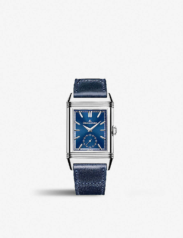 Jaeger-lecoultre Q3988482 Reverso Tribute Duoface Stainless Steel And Leather Watch In Silver