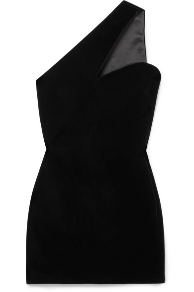 Saint Laurent Asymmetric One-shoulder Cocktail Dress In Black