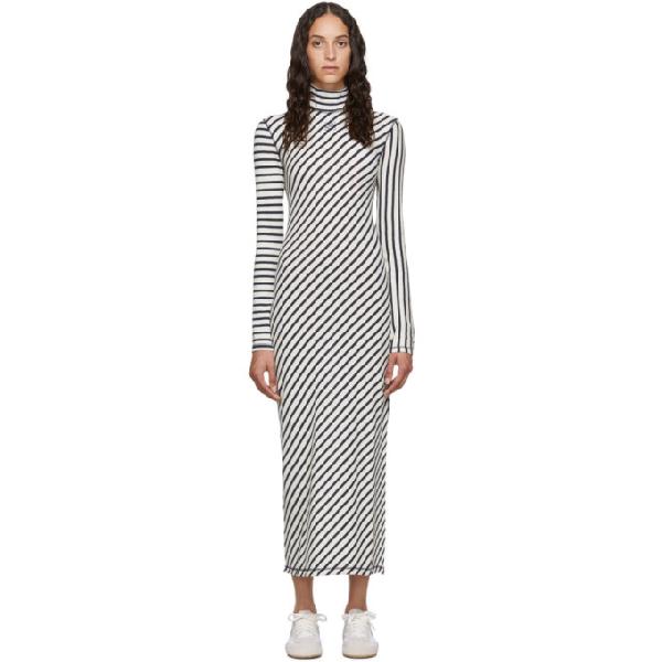Loewe Diagonal-Striped High-Neck Jersey Midi Dress In Navy