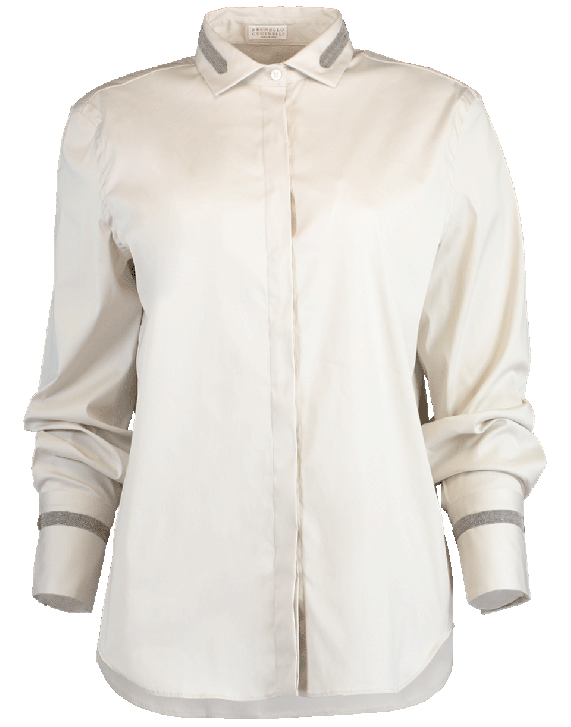 Brunello Cucinelli Stretch Monili Collar And Cuff Blouse In Salt