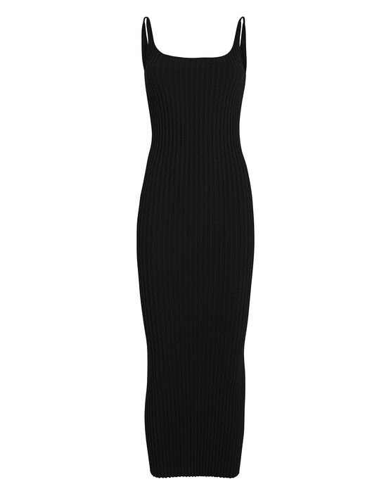 Paco Rabanne Sleeveless Rib Knit Dress In Black