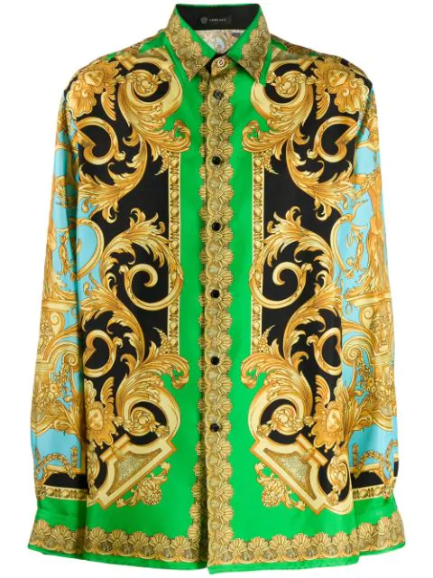 Versace Green & Blue Silk Barocco Homme Shirt In Yellow