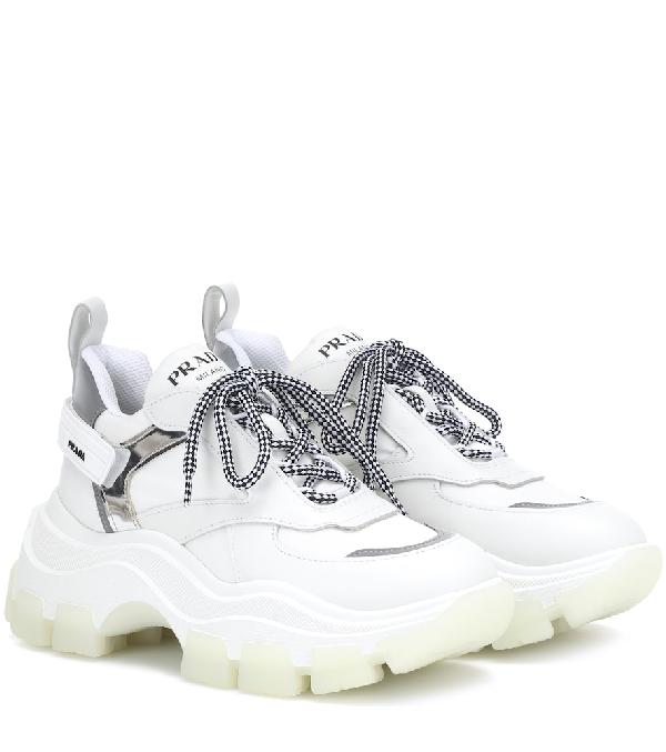 Prada Pegasus Metallic-Paneled Leather And Canvas Sneakers In F0J36 Bianco+Argento