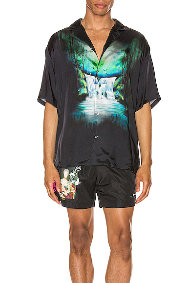 Off-White Camp-Collar Printed Cotton-Voile Shirt Size In Black