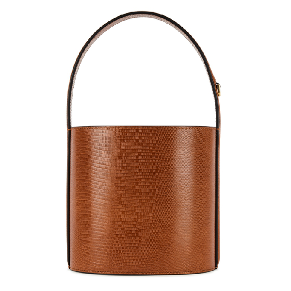 Staud Bissett Chestnut Leather Bucket Bag