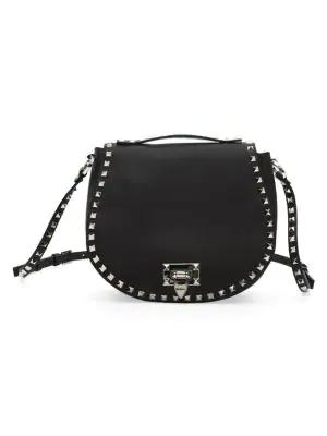 Valentino Garavani Small Rockstud Leather Saddle Bag In Black