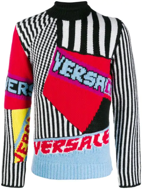 Versace Patchwork Wool Knit Jacquard Sweater In Red