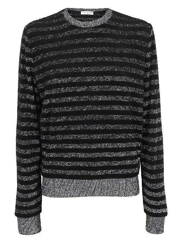 Saint Laurent Sweatshirt In Noir/argent
