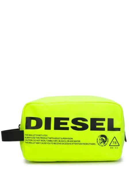 Diesel Neon Zipped Pouch In Green