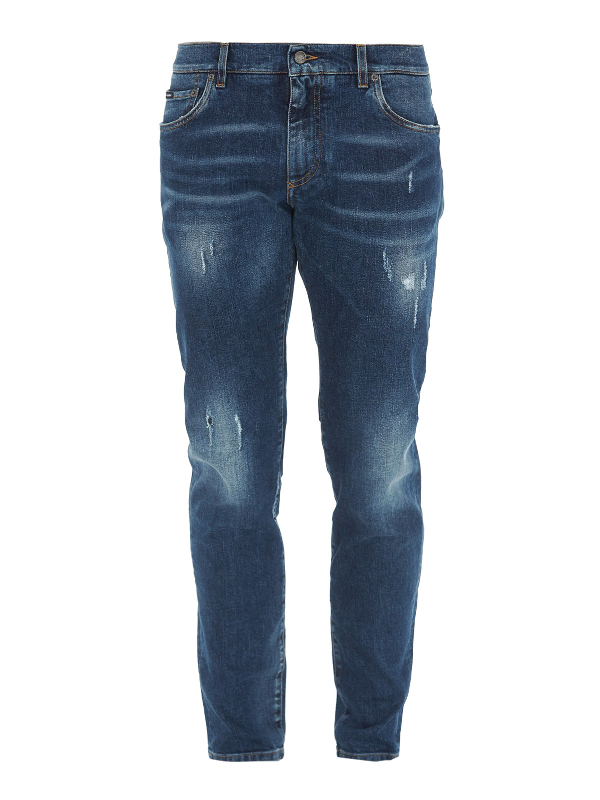 Dolce & Gabbana Scraped Faded Jeans In Medium Wash
