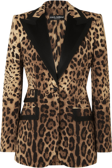 Dolce & Gabbana Satin-Trimmed Leopard-Print Wool-Blend Blazer In Leopard Print
