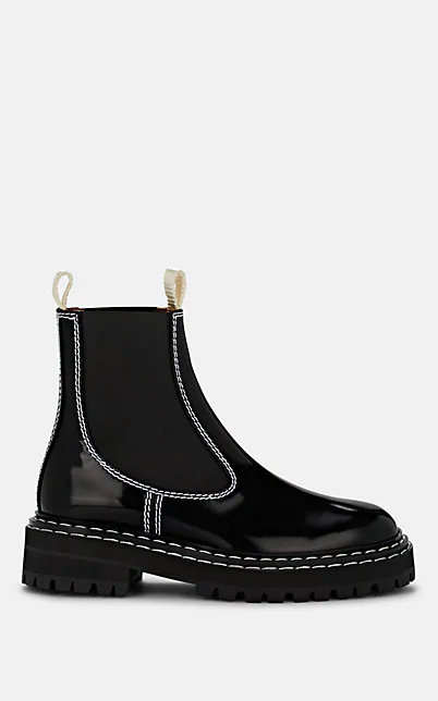 Proenza Schouler Topstitched Patent-Leather Chelsea Boots In Black