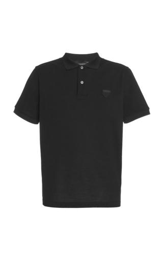 Prada Logo-patch Cotton Polo Shirt In Black