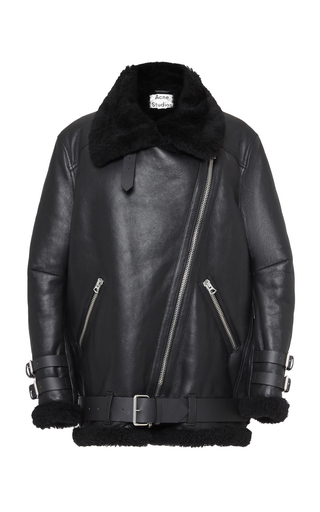 Acne Studios Velocite Shearling-trimmed Leather Biker Jacket In Black