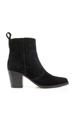 Ganni Western Leather Heeled Ankle Boots In Black