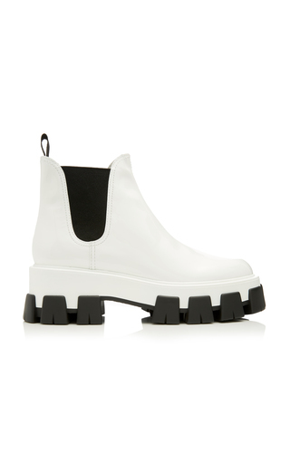 Prada Chunky Outsole Patent Leather Chelsea Boots In F0009 Bianco