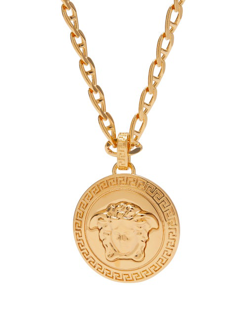 Versace Collana Metallo Medusa Coin And Charm Necklace In Gold
