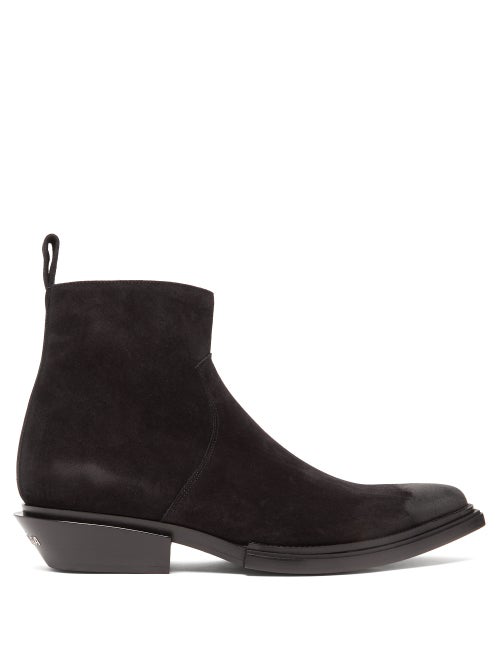 Balenciaga Santiag Suede Heeled Ankle Boots In Black