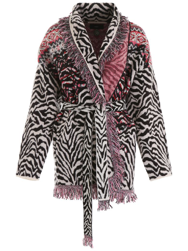 Alanui Jacquard Animalier Cardigan In White,black,pink
