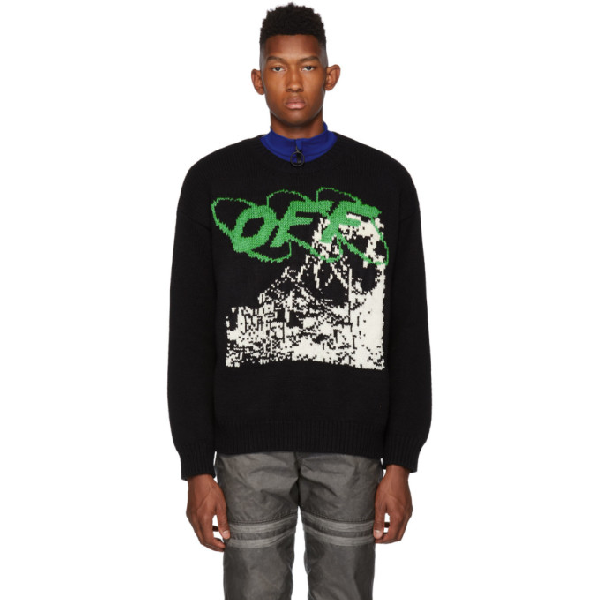 Off-white Black Men's Black Ruined Factory Knit Crewneck In 1001 Blkwht