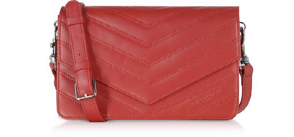 Lancaster Parisienne Matelasse Leather Shoulder Bag In Red