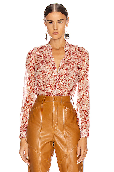 L Agence Nadine Ruffle Shoulder Blouse In Redstone & Quartz