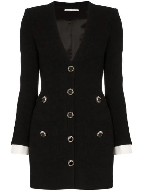 Alessandra Rich Button-embellished Wool-blend Tweed Mini Dress In Black