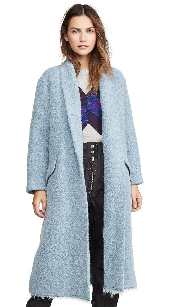 Etoile Isabel Marant Faby Wool-Alpaca Long Coat In Blue 30Bu