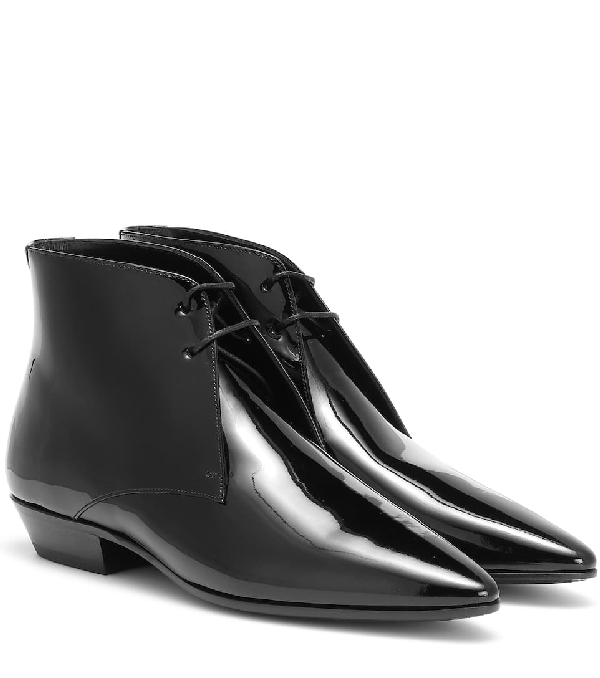 Saint Laurent Lace Up Ankle Boots Jonas 25 Patent Leather Black In 1000 Black