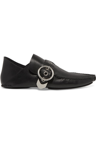 Loewe Shearling-lined Collapsible-heel Leather Loafers In Black