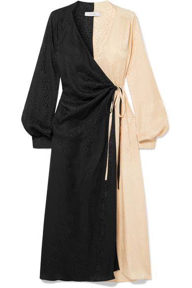 Art Dealer Ruched Two-tone Silk-jacquard Wrap Dress In Black