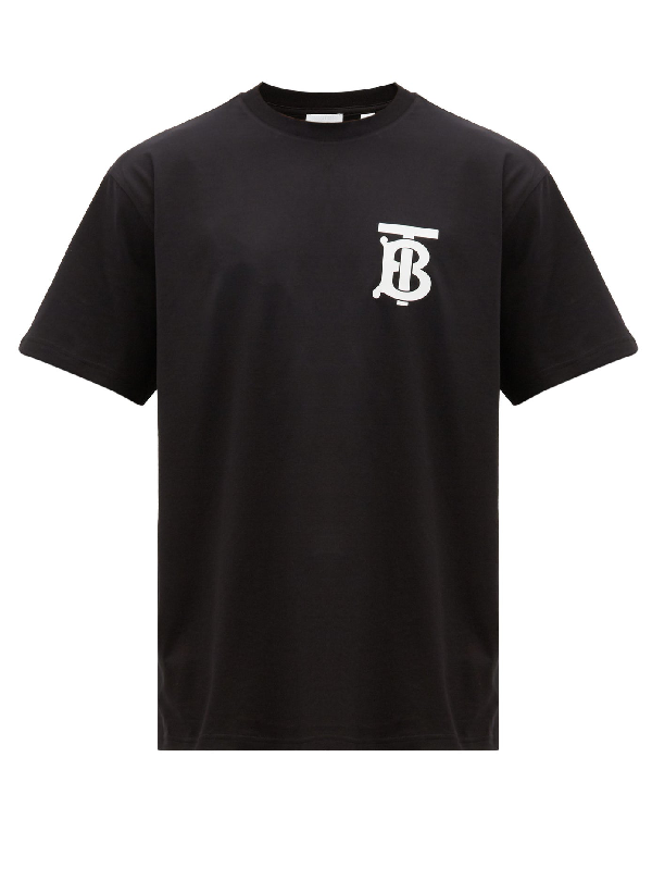 Burberry Monogram Motif Cotton Oversized T-shirt In Black