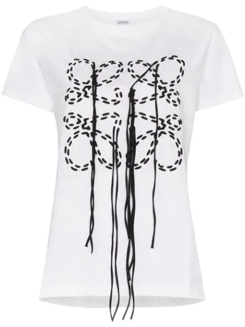 Loewe Anagram Stitched Fringing T-Shirt - 白色 In White