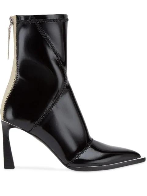 Fendi Two-tone Glossed-neoprene Ankle Boots In Black