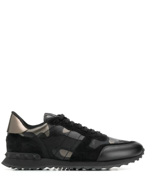 Valentino Men's Rockrunner Camo Leather Sneakers In Black