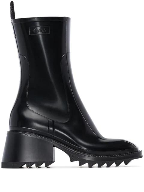 ChloÉ Betty Block-Heel Platform Rain Boots In Black
