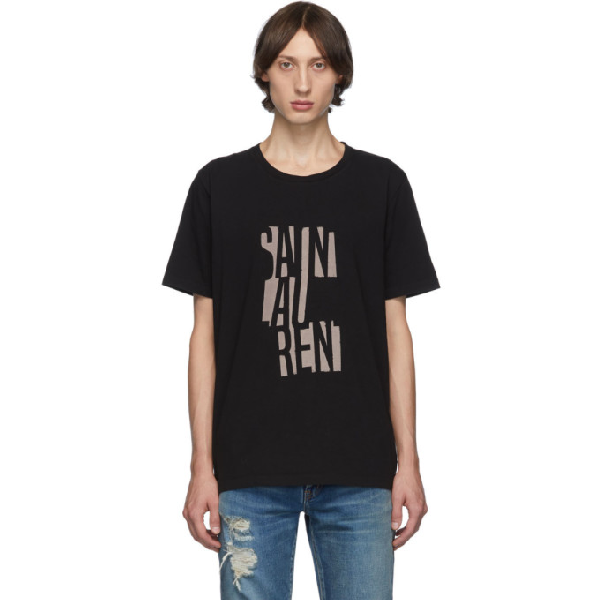Saint Laurent Black Cotton T Shirt With Logo Print In 1095 Blknat