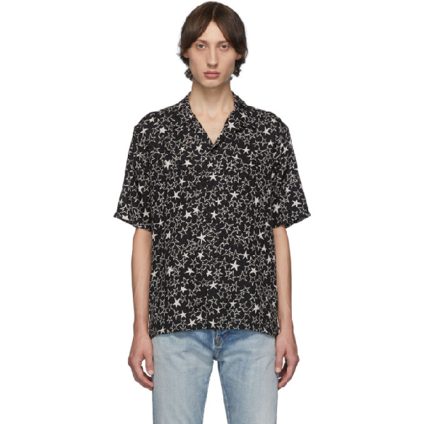 Saint Laurent Camp-collar Printed Silk-jacquard Shirt In 1095 Blkchk