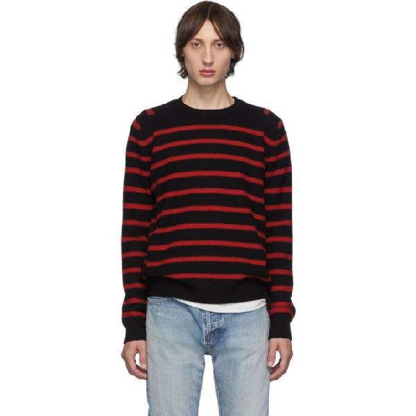 Saint Laurent Slim-fit Striped Virgin Wool Sweater In 1068 Blkred