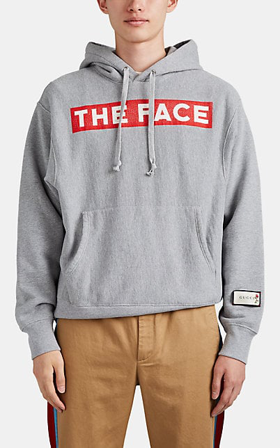 Gucci + The Face Oversized Logo-Print MÉLange Loopback Cotton-Jersey Hoodie In Gray
