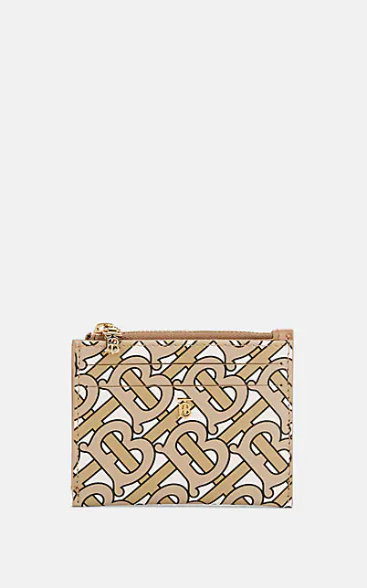 Burberry Simone Monogram Leather Zip Card Case - Beige