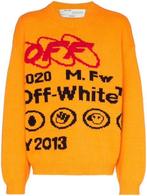 Off-White Industrial Y013 Intarsia Wool-Blend Sweater In 6010 Yellow Black