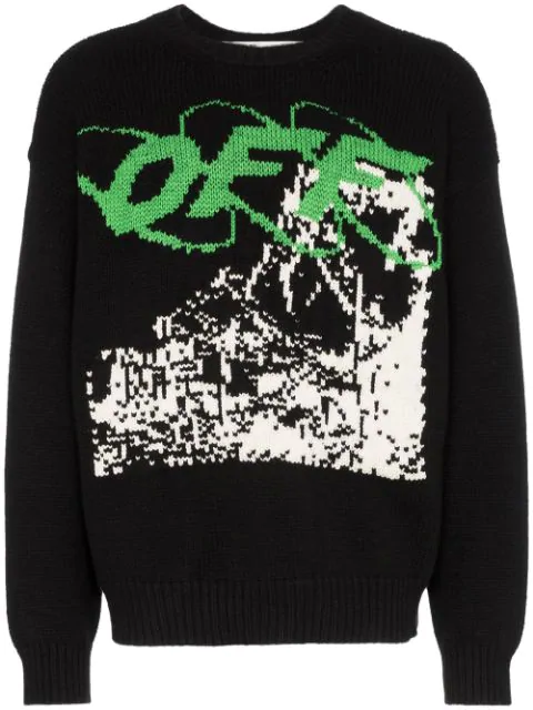 Off-White Black Men's Black Ruined Factory Knit Crewneck In 1001 Black White