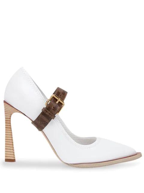 Fendi Patent Neoprene Mary Jane Pumps In White ,brown