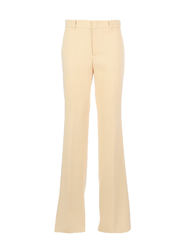 Gucci Wool Straight Leg Pants/dritto In Moonstone Ivory