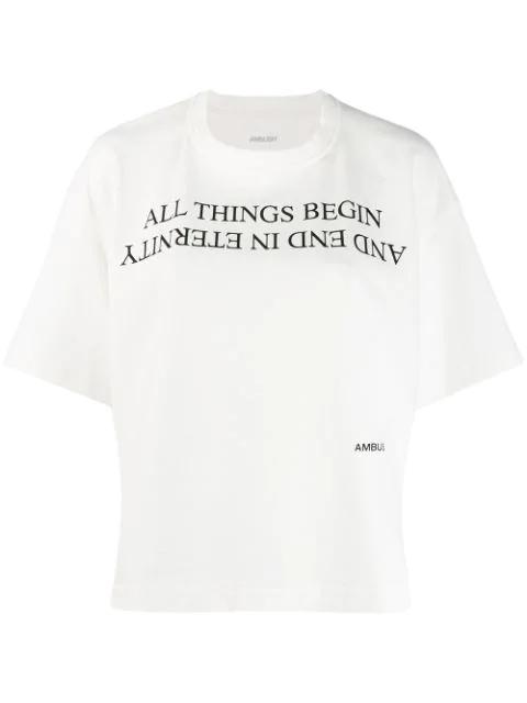 Ambush Printed Cotton-jersey T-shirt In White
