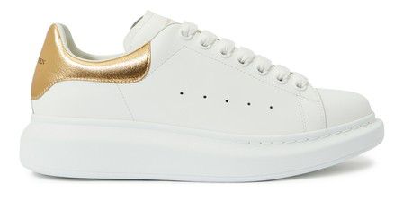 Alexander Mcqueen White And Rose Gold Oversized Leather Sneakers